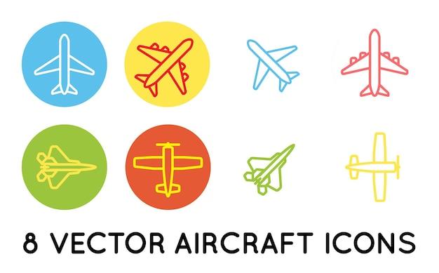 Conjunto de ícones mínimos planos, aeronave ou avião, silhueta de vetor de coleção