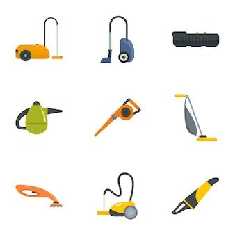 Conjunto de ícones moderno aspirador de pó. conjunto plano de 9 ícones modernos aspirador de pó