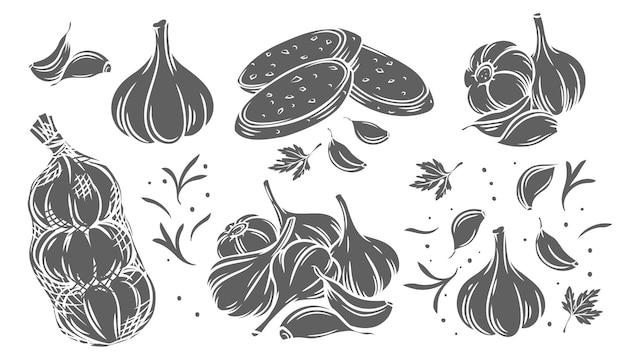 Conjunto de ícones monocromáticos de alho bela ilustração
