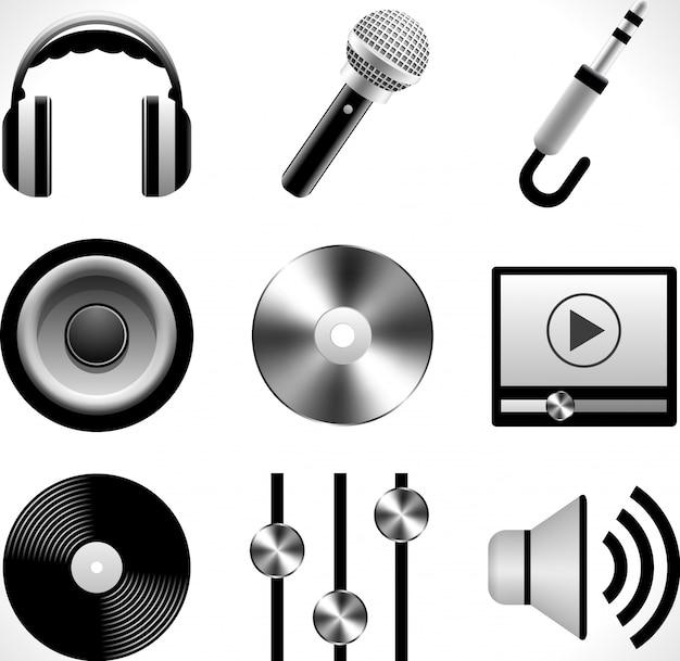 Conjunto de ícones musicais detalhados.