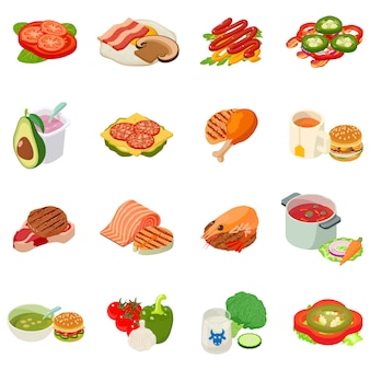 Conjunto de ícones na hora do almoço