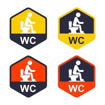 Conjunto de ícones na porta com a designação de banheiro público. ilustração vetorial plana.
