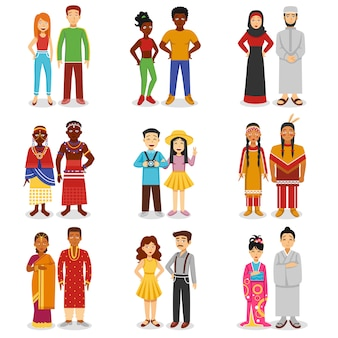Conjunto de ícones nacionais de casais