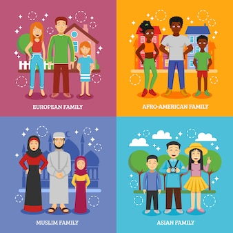 Conjunto de ícones nacionais de famílias