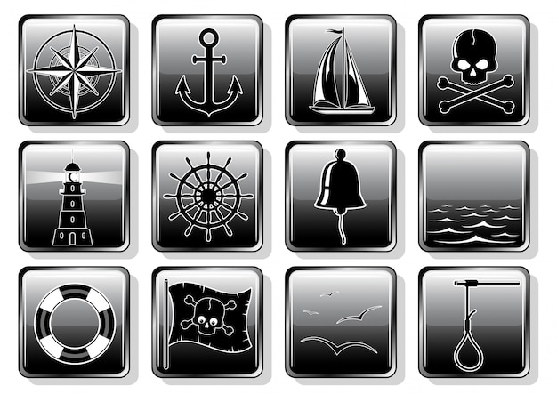 Conjunto de ícones náuticos em design plano