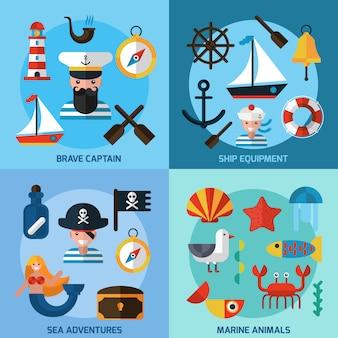 Conjunto de ícones náuticos