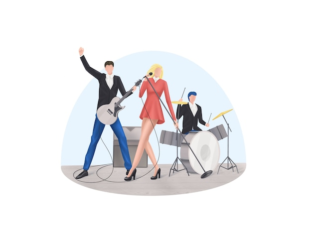 Conjunto de ícones no tema da banda de rock no estilo pixel art, ilustração vetorial