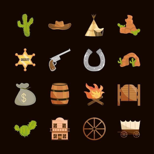 Conjunto de ícones oeste