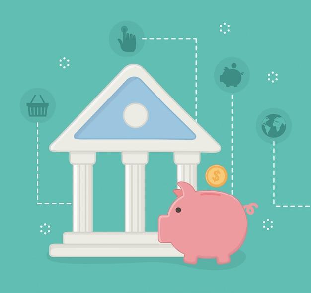 Conjunto de ícones on-line de pagamento