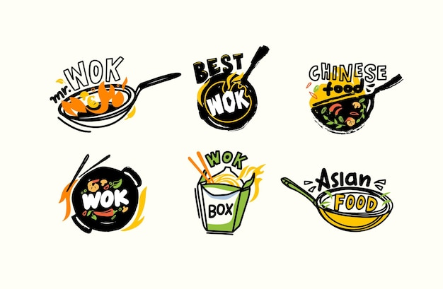 Conjunto de ícones ou emblemas wok e pauzinhos, comida chinesa e fogo, conceito de cozinha de refeições asiáticas fritas frescas com ingredientes na panela. rótulo para design de menu de casa ou restaurante na china. ilustração vetorial