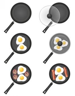 Conjunto de ícones ovos fritos em uma frigideira.