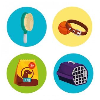 Conjunto de ícones para animais no quadro circular