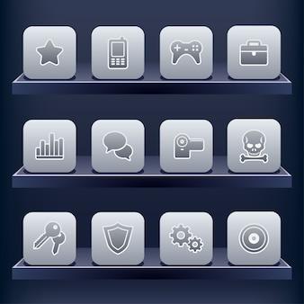 Conjunto de ícones para aplicativos móveis