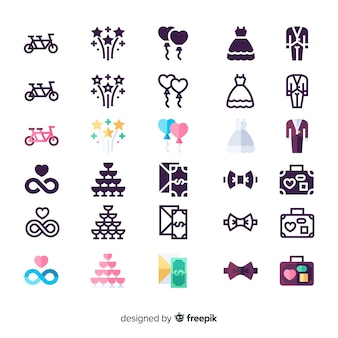 Conjunto de ícones para casamento