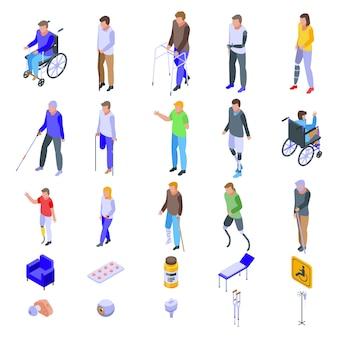 Conjunto de ícones para deficientes, estilo isométrico