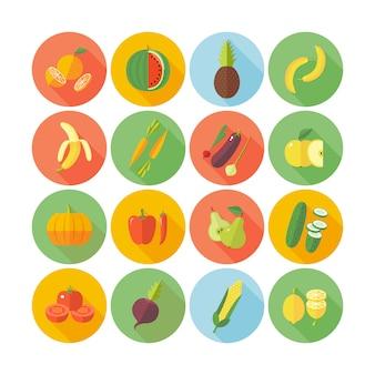 Conjunto de ícones para frutas e legumes.