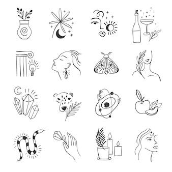 Conjunto de ícones para mídias sociais. flores da moda e alquimia. elementos lineares.