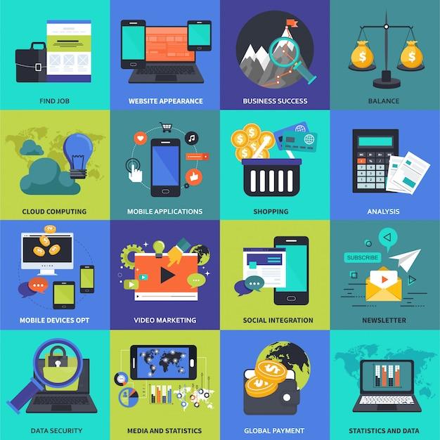 Conjunto de ícones para negócios, gestão, tecnologia e finanças