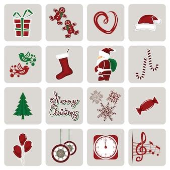 Conjunto de ícones para o ano novo e natal