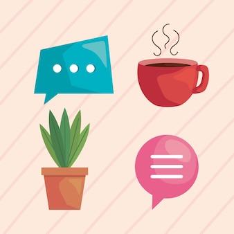 Conjunto de ícones para reunião virtual