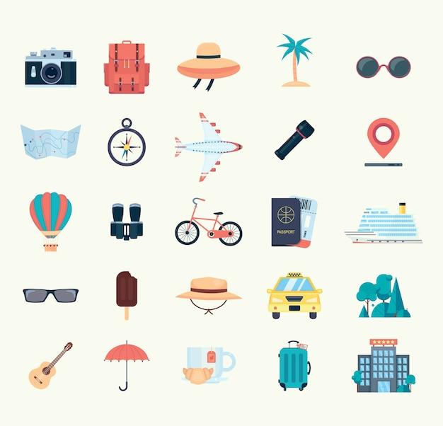 Conjunto de ícones para viagens. ilustração em vetor plana isolada no fundo branco
