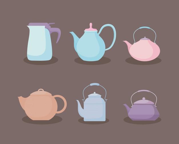 Conjunto de ícones pastel de bules de cozinha