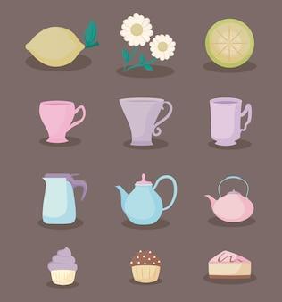 Conjunto de ícones pastel pastel de cor de hora de chá