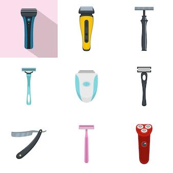 Conjunto de ícones pessoais de navalha de lâmina de barbear