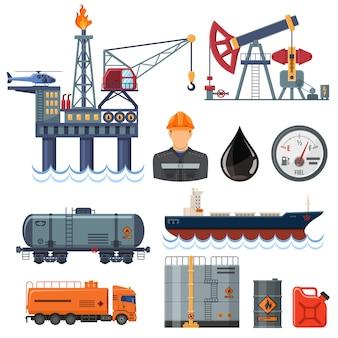 Conjunto de ícones plana da indústria petrolífera