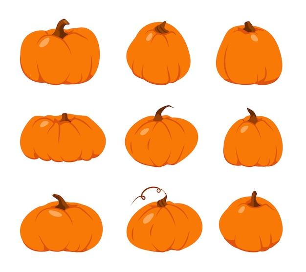 Conjunto de ícones plana de abóbora de outono. cabaça de laranja de forma diferente de desenho animado.