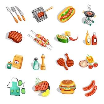 Conjunto de ícones plana de acessórios de comida de churrasco