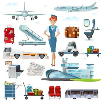 Conjunto de ícones plana de acessórios de voo do aeroporto
