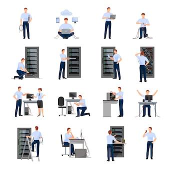 Conjunto de ícones plana de administrador do sistema