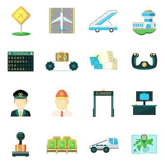 Conjunto de ícones plana de aeroporto