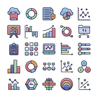 Conjunto de ícones plana de análise de dados e gráficos
