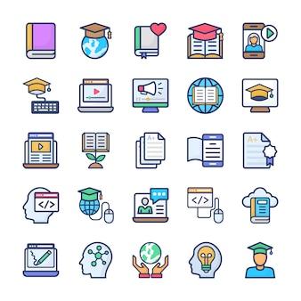 Conjunto de ícones plana de aprendizagem on-line