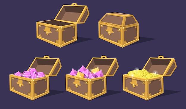 Conjunto de ícones plana de arcas de tesouro coloridas fechadas e abertas. desenhos animados baús de pirata brilhante com joias e moedas isoladas coleção de ilustração vetorial. troféu de jogo e elementos de interface do usuário