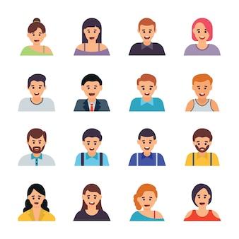 Conjunto de ícones plana de avatares diferentes