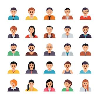 Conjunto de ícones plana de avatares humanos