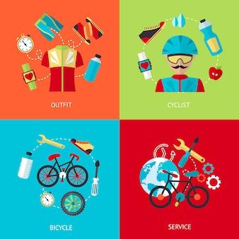 Conjunto de ícones plana de bicicleta