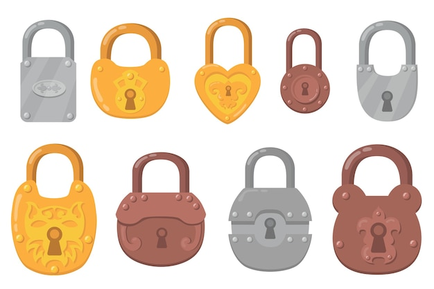 Conjunto de ícones plana de cadeados de ferro. desenhos animados de fechaduras para coleção de ilustração vetorial isolado de proteção de segurança e proteção. mecanismos seguros e conceito de criptografia