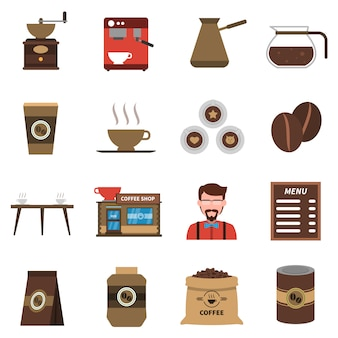 Conjunto de ícones plana de café