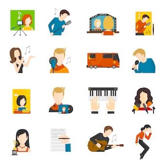 Conjunto de ícones plana de cantor pop