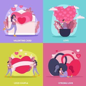 Conjunto de ícones plana de casal de amor com casal de cartões de dia dos namorados e ilustração de descrição de forte amor