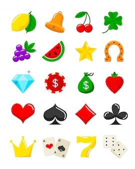 Conjunto de ícones plana de cassino brilhante