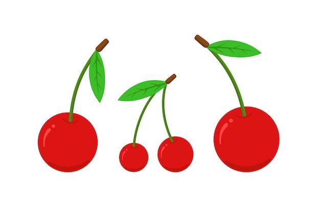 Conjunto de ícones plana de cereja. ilustração em vetor fresco e doce com baga vermelha
