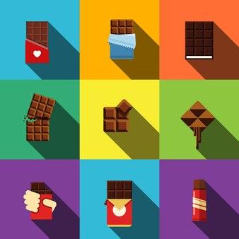 Conjunto de ícones plana de chocolate