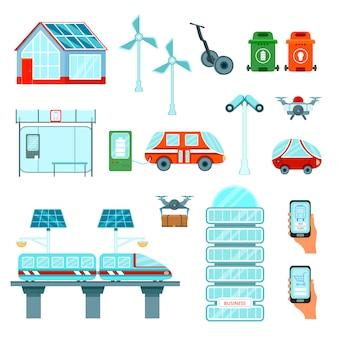 Conjunto de ícones plana de cidade inteligente