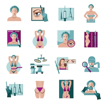 Conjunto de ícones plana de cirurgia plástica