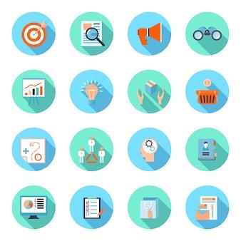 Conjunto de ícones plana de comerciante com publicidade eficácia marca analytics produto marketing isolado ilustração vetorial